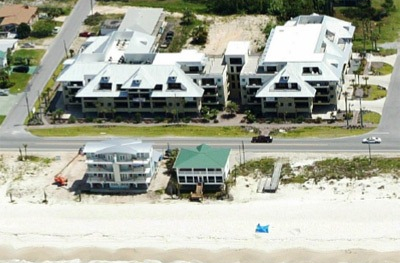image of overhead view of The Beach Club, one of several Mexico Beach Condos