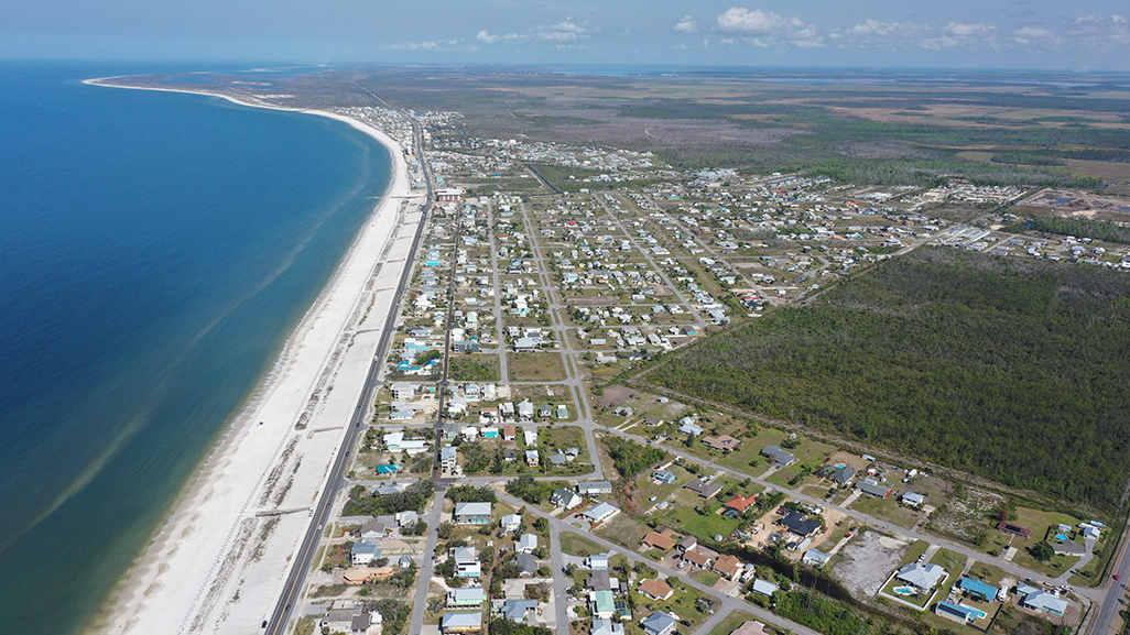Heading west above Mexico Beach